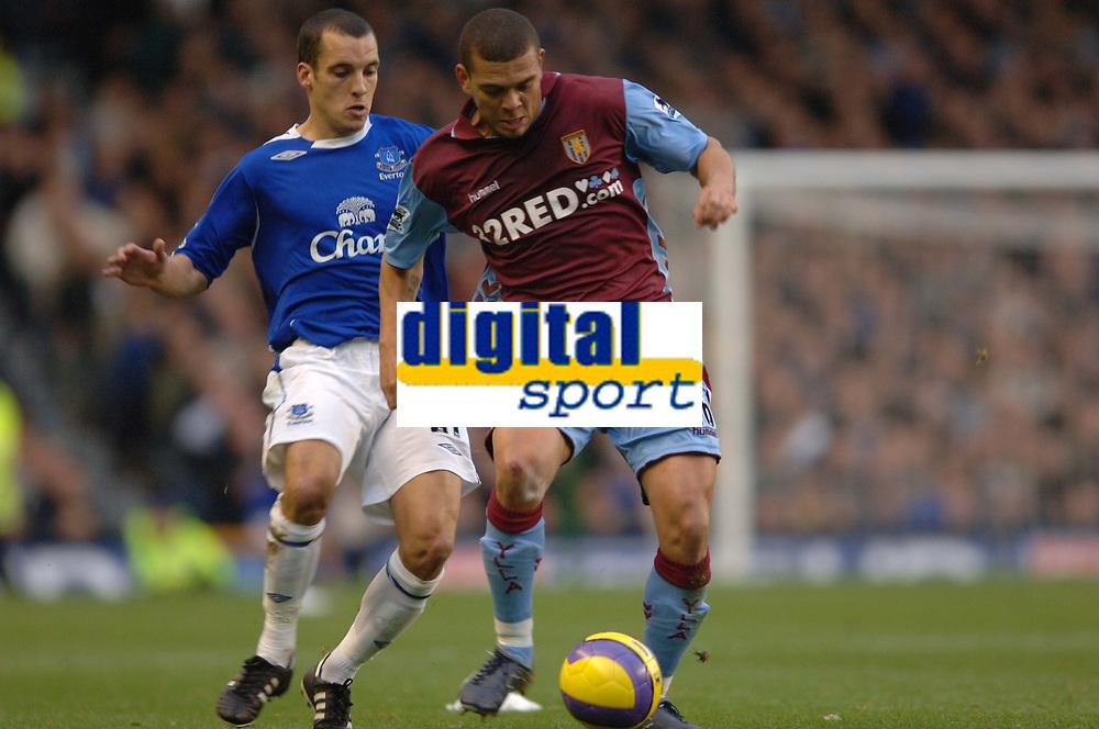 Photo: Paul Greenwood.<br /> Everton v Aston Villa. The Barclays Premiership. 11/11/2006. Villa's Wilfred Bouma, right, shields the ball from Leon Osman.