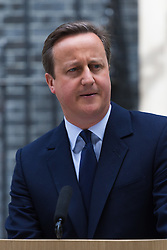 """Downing Street, London, June 21st 2016.  British Prime Minister David Cameron addresses the media outside 10 Downing Street, warning of the """"irreversible decision"""" that the EU referendum presents.."""