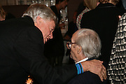 Geoffrey RobertsoN AND JOHN MORTIMER , Book launch for 'the Anti-social Behaviour of Horace Rumpole' by John Mortimer and 'A Voyage Round John Mortimer' by Valerie Grove. -DO NOT ARCHIVE-© Copyright Photograph by Dafydd Jones. 248 Clapham Rd. London SW9 0PZ. Tel 0207 820 0771. www.dafjones.com.