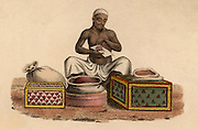 Indian Perfumer: hand-coloured engraving published Rudolph Ackermann, London, 1822.
