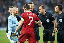 Liverpool's James Milner shakes hands with Manchester City's David Silva beforethe UEFA Champions League, Quarter Final at the Etihad Stadium, Manchester.