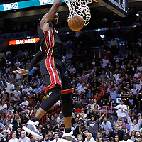 14 March 2011: Miami Heat shooting guard Dwyane Wade (3) dunks the ball during the Miami Heat 110-80 victory over the San Antonio Spurs at the AmericanAirlines Arena, Miami, Florida, USA.