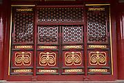 Vermillion door at the Temple of Confucius in Beijing, China