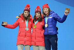 February 17, 2018 - Pyeongchang, South Korea - MATHILDE GREMAUD of Switzerland (left) , SARAH HOEFFLIN of Switzerland (center) and ISABEL ATKIN of Great Britain with their medals from the Ladies' Slopestyle freestyle skiing event in the PyeongChang Olympic Games. (Credit Image: © Christopher Levy via ZUMA Wire)