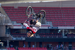 October 19, 2018 - Sydney, NSW, U.S. - SYDNEY, NSW - OCTOBER 19: Mike Clark of United States preforms a backflip in the BMX Dirt qualifying at The X-Games at Spotless Stadium in Sydney on October 19, 2018. (Photo by Speed Media/Icon Sportswire) (Credit Image: © Speed Media/Icon SMI via ZUMA Press)