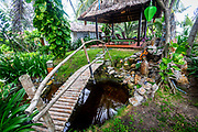 Sept. 2020, An Bang Beach: Sound of Silence Cafe: A wooden bridge crossed a small pond in this beach side resort.