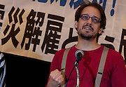 Union activist Louis Carlet at a rally by left wing groups, including Doro Chiba railway Union and Zengakuren students union, in Hibiya Park Hall in support of the abolition of nuclear power after the disaster at Fukushima Daichi nuclear plant. Hibiya Park, Tokyo, Japan. Sunday June 5th 2011