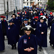 Feltmakes and Band from Switzerland parade at Lord Mayor's Show assembly at M Restaurant on 9 November 2019, London, UK. Credit to Picture Capital