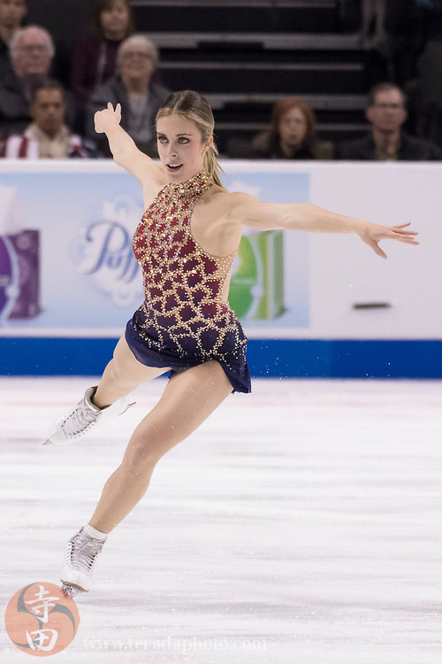 January 3, 2018; San Jose, CA, USA; Ashley Wagner performs in the ladies short program during the 2018 U.S. Figure Skating Championships at SAP Center.