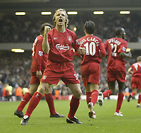 Photo: Aidan Ellis.<br /> Liverpool v West Ham Utd. The Barclays Premiership.<br /> 29/10/2005.<br /> Liverpool's Bolo Zenden celebrates his goal and Liverpool's second