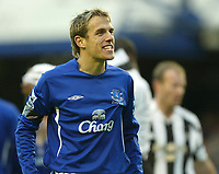 Photo: Aidan Ellis.<br /> Everton v Newcastle. The Barclays Premiership.<br /> 27/11/2005.<br /> Everton's Phil Neville enjoys victory at the end