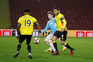 Burton Albion midfielder Matt Palmer (16), Watford striker Troy Deeney (9) and Watford striker Jerome Sinclair (19) during the The FA Cup 3rd round match between Watford and Burton Albion at Vicarage Road, Watford, England on 7 January 2017. Photo by Richard Holmes.