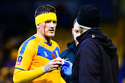 A bloodied Andy Cook of Mansfield Town - Mandatory by-line: Ryan Crockett/JMP - 09/11/2019 - FOOTBALL - One Call Stadium - Mansfield, England - Mansfield Town v Chorley - Emirates FA Cup first round