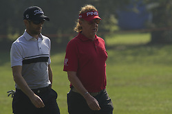 October 14, 2017 - Monza, Italy - Miguel Angel Jimenez of Spain (R) and Grégory Bourdy of France (L) on Day three of the Italian Open at Golf Club Milano (Credit Image: © Gaetano Piazzolla/Pacific Press via ZUMA Wire)