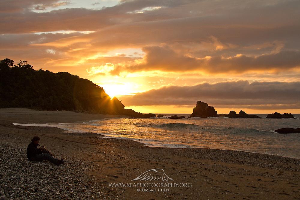 Sunset at Munro Beach, West Coast New Zealand