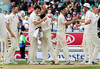 Cricket - 2017 South Africa Tour of England - Third Test, Day Five<br /> <br /> Moeen Ali is congratulated by fellow bowler Toby Roland - Jones after getting a hat trick of wickets (the first since 1938 for a spin bowler) during the afternoon session, at The Oval.<br /> The third wicket was of Morne Morkel<br /> <br /> COLORSPORT/ANDREW COWIE