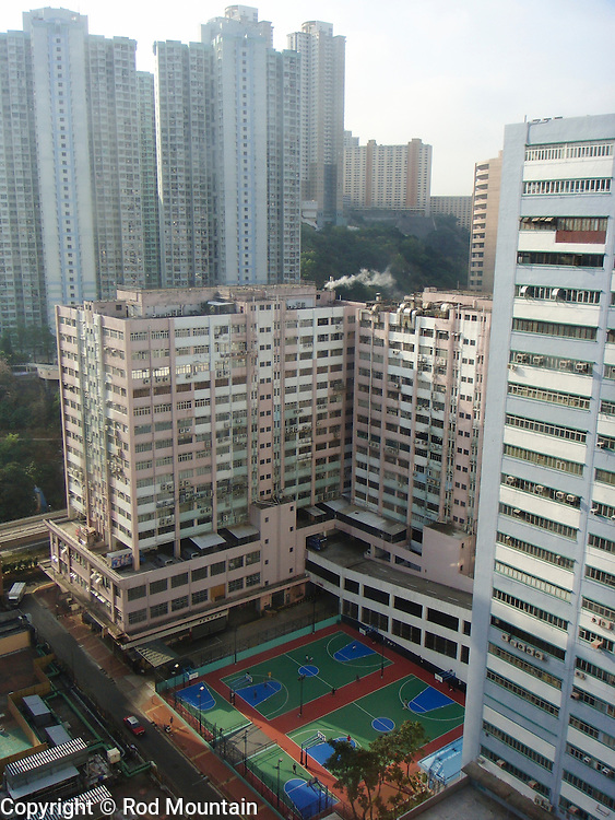 Outdoor Basketball courts as viewed from a Hotel window in Hong Kong.