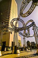 Yokohama Yoyo Place sculpture (Landmark Tower in background), Minato Mirai 21 waterfront development, Yokohama, Japan