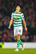 Filip Benkovic (#32) of Celtic reacts to having a long range shot saved during the Betfred Cup Final between Celtic and Aberdeen at Celtic Park, Glasgow, Scotland on 2 December 2018.