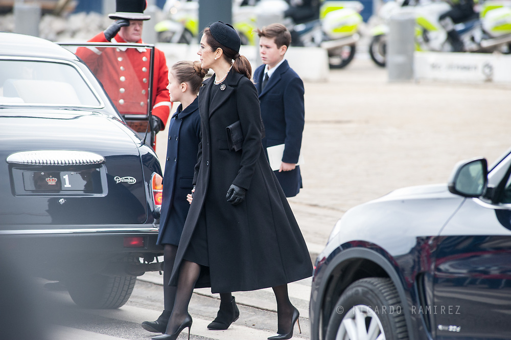 20.02.2018. Copenhagen, Denmark. <br /> Crown Princess Mary ,Princess Isabela and Prince Christian leaves the Christiansborg Palace Church after the funeral service.<br /> Photo: Ricardo Ramirez.