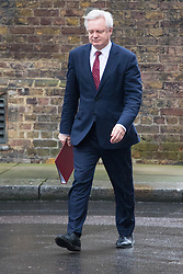 Downing Street, London, February 7th 2017. Secretary of State for Exiting the European Union David Davis arrives in Downing Street for the weekly UK cabinet meeting.