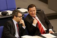 """19 DEC 2002, BERLIN/GERMANY:<br /> Hans-Martin Bury (l), SPD, Staatsminister im Auswaertigen Amt,  und Gerhard Schroeder (R), SPD, Bundeskanzler, im Gespraech, waehrend der Debatte zur Regierungserklaerung des BK """"Ergebnisses des Europaeischen Rates"""", Plenum, Deutscher Bundestag<br /> IMAGE: 20021219-01-038<br /> KEYWORDS: Sitzung, Gerhard Schröder, Gespräch"""
