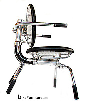 Commossioned desk chair prototype made from reused Harley Davidson motorcycle parts. Testing at the Harley-Davidson Museum during the 110th Anniversary Celebration