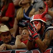 Dec 23, 2012; Houston, TX, USA; Houston Texans fan Chris Lockridge prays during the fourth quarter against the Minnesota Vikings at Reliant Stadium. The Vikings won 23-6. Mandatory Credit: Thomas Campbell-USA TODAY Sports