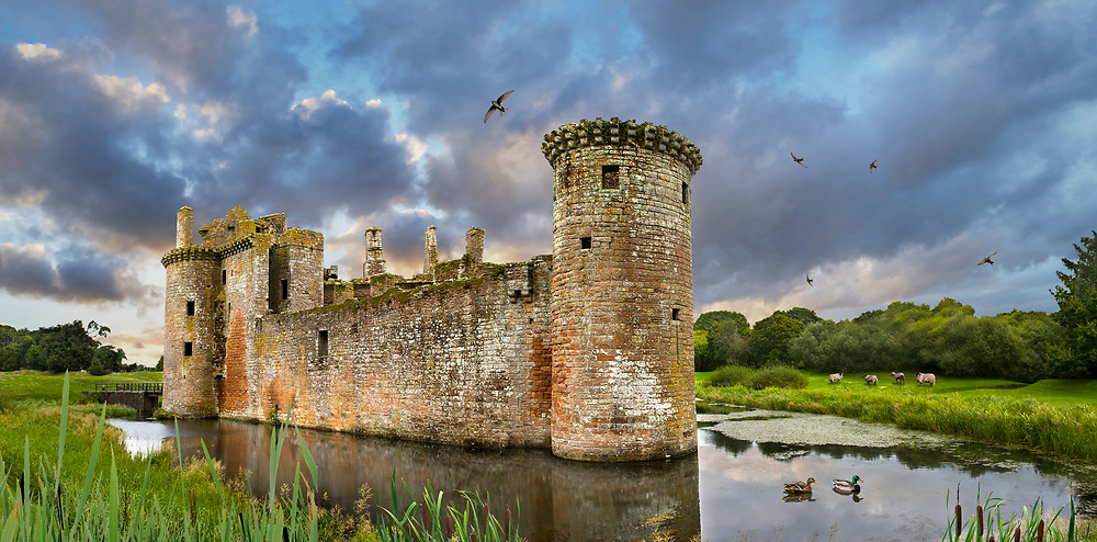 Towering Delusions - A dramatic atmospheric view of the exterior of ruins of the medieval Caerlaverock Castle surrounded by a moat, Dumfries Galloway, Scotland, By photographer Paul E Williams.<br /> <br /> Visit our LANDSCAPE PHOTO ART PRINT COLLECTIONS for more wall art photos to browse https://funkystock.photoshelter.com/gallery-collection/Places-Landscape-Photo-art-Prints-by-Photographer-Paul-Williams/C00001WetsxVxNTo