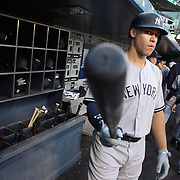 NEW YORK, NEW YORK - August 16:  Aaron Judge #99 of the New York Yankees leaving the dugout to bat during the New York Yankees Vs New York Mets regular season MLB game at Citi Field on August 16, 2017 in New York City. (Photo by Tim Clayton/Corbis via Getty Images)