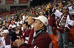 Fans of Latvia after ice-hockey match USA vs Latvia at IIHF WC 2008 in Halifax,  on May 02, 2008 in Metro Center, Halifax, Canada. USA won 4:0. (Photo by Vid Ponikvar / Sportal Images)