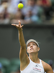 LONDON, July 5, 2017  Angelique Kerber of Germany serves during the women's singles first round match against Irina Falconi of the United States at the Championship Wimbledon 2017 in London, Britain, on July 4, 2017. Kerber won 2-0. (Credit Image: © Jin Yu/Xinhua via ZUMA Wire)