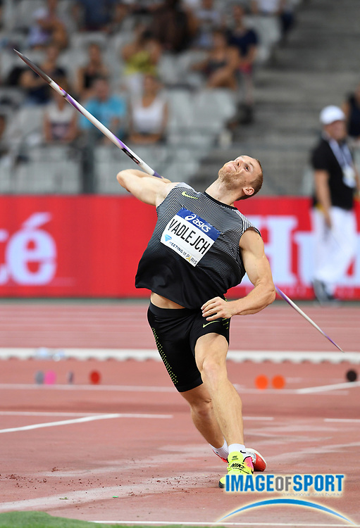 Jakub Vadlejch (CZE) wins the javelin at 288-9 (88.02m) in the Meeting de Paris during a IAAF Diamond League track and field meet at Stade de France in Saint-Denis, France on Saturday, Aug. 28, 2016. Photo by Jiro Mochizuki
