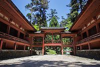 """Ninai-do is made up of two temples: Hokke-do and Jogyo-do with the same shape and connected by a corridor. Enryaku-ji is located on Mount Hiei, overlooking Kyoto, and is the headquarters of the Tendai sect.  Founded during the early Heian period, it is one of the most important monasteries in Japanese history.  Enryaku-ji is imbued with a solemn atmosphere as a place of training and the home of the """"marathon monks.""""   Enryaku-ji is part of the UNESCO World Heritage Site """"Historic Monuments of Ancient Kyoto"""""""