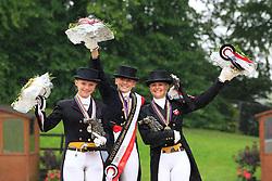 Prize giving Kür Juniors :<br /> 1. Nanna Skodborg Merrald (DEN)<br /> 2. Pia-Katharina Voigtländer (GER)<br /> 3. Anna Zibrandtsen (DEN)<br /> European Championship Dressage Juniors - Broholm 2011<br /> © Hippo Foto - Leanjo de Koster