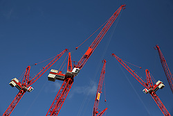 Jan. 13, 2015 - Red construction cranes (Credit Image: © Image Source/Image Source/ZUMAPRESS.com)