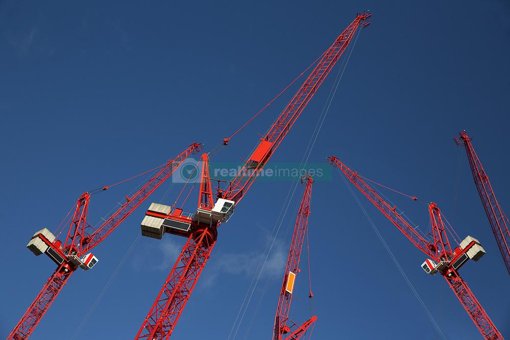 Jan. 13, 2015 - Red construction cranes (Credit Image: © Image Source/Image Source/ZUMAPRESS.com)