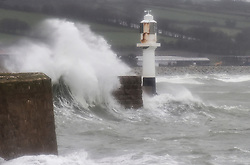 © Licensed to London News Pictures.03/02/2017. Waves batter the coastline at  Penzance in Cornwall as the unofficially named storm DORIS hits the UK coast. Photo credit : Mark Hemsworth/LNP