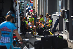 Tactical meeting at Ale-Cipollini Cycling Team before Liege-Bastogne-Liege - a 136 km road race, between Bastogne and Ans on April 22, 2018, in Wallonia, Belgium. (Photo by Balint Hamvas/Velofocus.com)