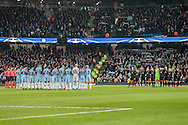 Both team observe a minute of silence before the Champions League match between Manchester City and Celtic at the Etihad Stadium, Manchester, England on 6 December 2016. Photo by Mark P Doherty.