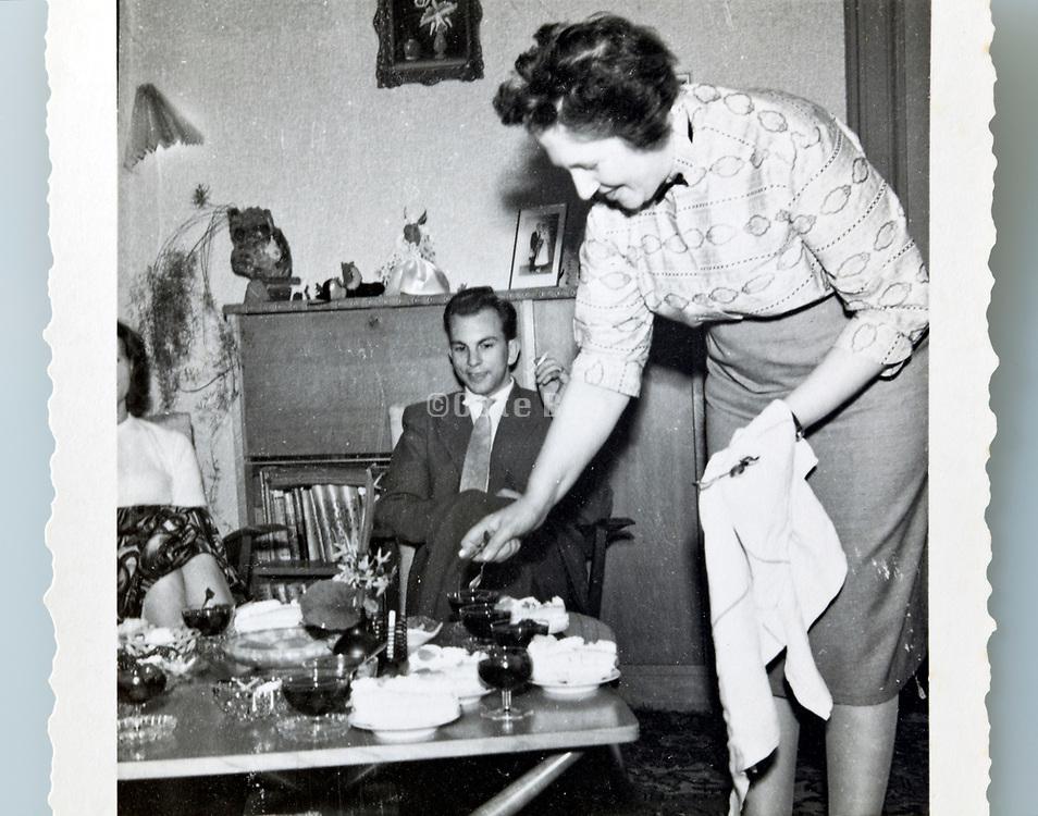 having a celebration at home 1950s Netherlands