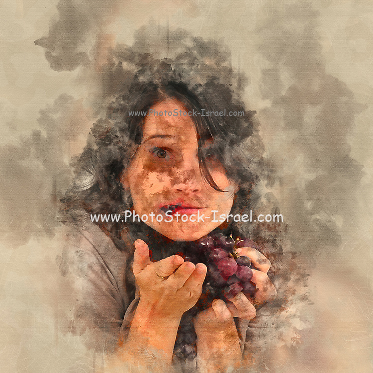 Digitally enhanced exaggerated and humourous image looking at a young woman eating grapes from a bunch of red grapes studio shot on white background