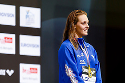 Francesca Halsall of Great Britain wins the Gold medal in the Womens 50m Backstroke Final - Photo mandatory by-line: Rogan Thomson/JMP - 07966 386802 - 23/08/2014 - SPORT - SWIMMING - Berlin, Germany - Velodrom im Europa-Sportpark - 32nd LEN European Swimming Championships 2014 - Day 11.