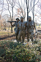 Washington DC; USA: The Vietnam Veterans Memorial on the Mall.  Sculpture of three soldiers..Photo copyright Lee Foster Photo # 8-washdc76089
