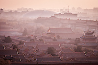 Looking across to the Forbidden City from the top of Jingshan Park in the gentle winter light of late afternoon in Beijing.