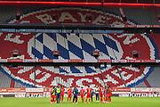 General View FC BAYERN MÜNCHEN , mannschaftskreis , Teamkreis , vor dem Bayern logo , Hinterleger , feature  during the Bayern Munich vs Fortuna Dusseldorf in the Bundesliga at Allianz Arena, Munich, Germany on 30 May 2020.