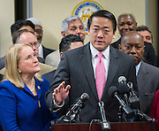 Texas Representative Gene Wu comments during a news conference introducing the Houston Office of New Americans and to discuss immigrant issues, December 12, 2016, at the Baker Ripley Neighborhood Center.