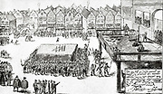 July 14, 1584.  Execution by of Balthasar Gerards, in the Groote Market in Delft,  who four days before shot Prince William I (of Orange) in Prinsenhof.     Balthasar Gérard (in Dutch, Gerards or Gerardts) (born c. 1557 in Vuillafans - died July 14, 1584 in Delft) was the assassin of the Dutch independence leader, William I of Orange, also known as William the Silent.