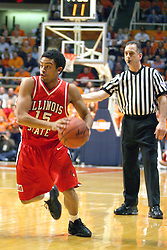 02 January 2004  Matt Miller makes his move. Illinois State University ties up The Fightin Illini in regulation but fails to top the Big 10 team in overtime. Action took place at the Assembly Hall on the University of Illinois Campus in Champaign - Urbana Illinois.