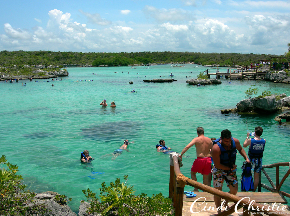 People snorkel and enjoy the inlet at  Xel-Ha Lagoon water park and ecology center along the Riviera Maya south of Cancun, Mexico, on May 24, 2007. Colorful fish abound in this area. (© 2007 Cindi Christie)